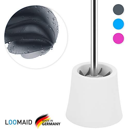 LOOMAID Silikon WC Bürste mit Lotuseffekt, Klobürste Silikon – Made in Germany – Toilettenbürste mit weißem Halter (Grau)