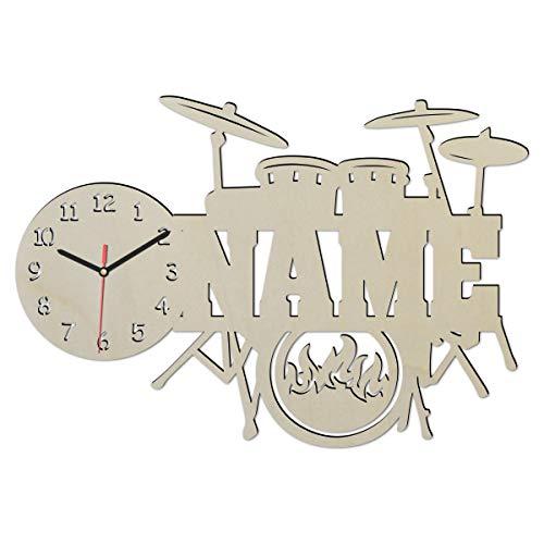 Wand Uhr mit Namen Schlagzeug Mini Drums Drummer Deko Zubehör Artikel Geschenke Musikschule Lehrer