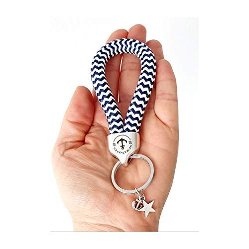 Angesagter maritimer Schlüsselanhänger silber Schlüsselband Segelseil marine blau weiß Anker Heimathafen von Andrea Traub - FASHION großer Schlüsselring mit Anhänger Anker und Stern