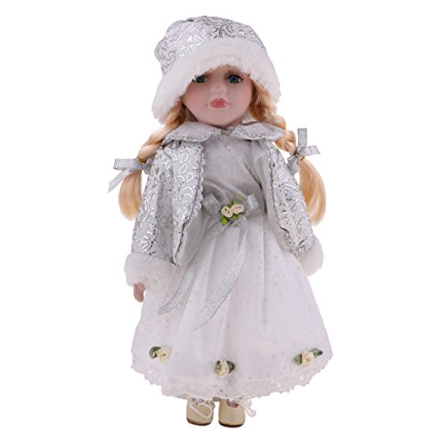 12 Zoll Elegante Viktorianische Porzellanpuppe Mit Ständer, Kleine Mädchen Menschen Figuren Im Kleid Hut, Kinder Geschenk Erwachsenen Sammlungen 3 S - # D