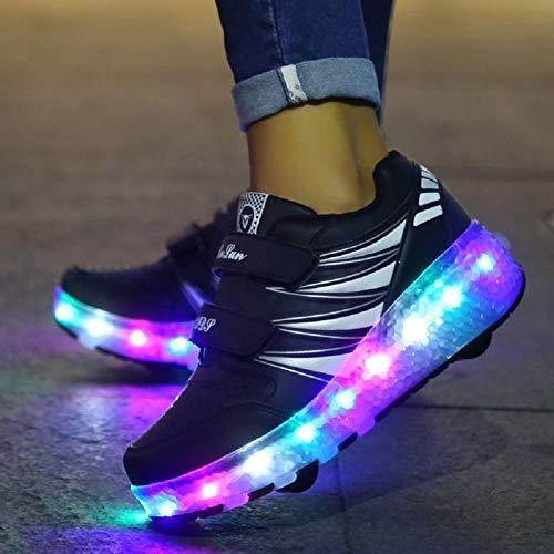 YURU Kinder Leuchtende Turnschuhe Mit Rädern LED Leuchten Rollschuhe Sport Leuchtende Beleuchtete Schuhe Fersen,A-EU37