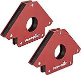 Poppstar Escuadra magnetica para soldar grande (Juego de 2 pzas), Fuerza de adhesión de los imanes para soldar: 34 Kg, ángulos 45°, 90°, 135°