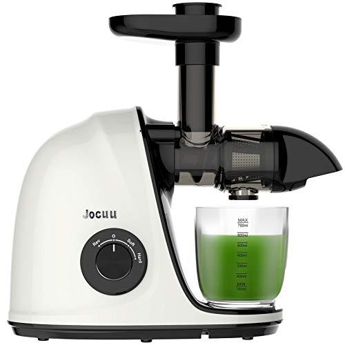 Juicer Machine, Jocuu Slow Masticating Juicer Extractor, Cold Press Juicer Leicht zu reinigen, Weich/Hart 2-Gang Leiser Motor, Reverse Anti-Clogging, mit Bürste & Rezepte, für Gemüse und Obst
