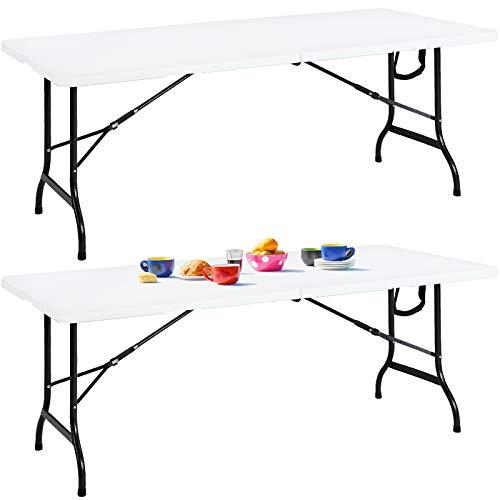 2er Set Buffettisch Gartentisch Klappbar 183cm Kunststoff Metall Weiß Beistelltisch Klapptisch Campingtisch Koffertisch