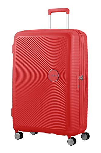 American Tourister Soundbox Spinner Large Expandable Bagaglio A Mano, Rosso (Coral Red),Spinner L (77 cm - 110 L)