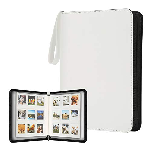 540 Photos Album for Fujifilm Instax Mini Instant Camera, Portable Storage 9-Pocket Zipper Binder Photo Holder Fits for Polaroid Snap SnapTouch PIC-300 Z2300 Mint Zip Instant Camera Printer (White)
