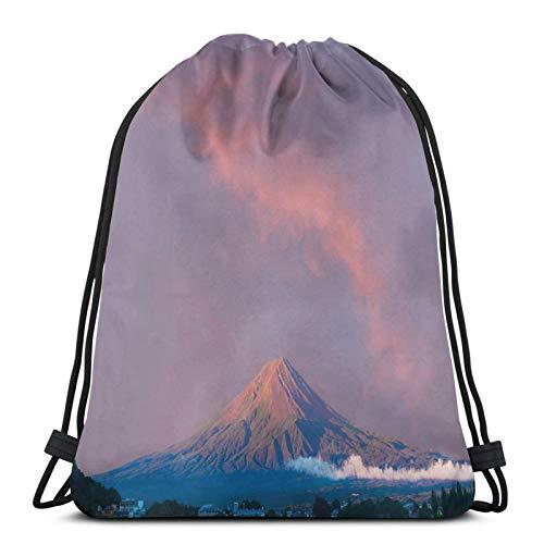 FULIYA Gym Drawstring Bags Backpack,Beautiful Sunrise Beams On Volcanic Formation,Unisex Drawstring Backpack