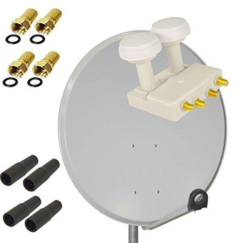PremiumX HD Digital SAT Anlage 80 cm Aluminium ALU Schüssel Spiegel Antenne Hellgrau + Quad Monoblock LNB Astra Hotbird 0,1dB FULLHD 3D TV für 4 Teilnehmer + 4 F-Stecker 7mm vergoldet + 4 Gummitüllen
