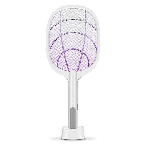 XuCesfs Raqueta eléctrica para eliminar insectos, 2 en 1 USB, recargable, electrónico, control de plagas LED, luz de malla de seguridad, segura al tacto