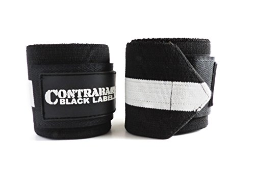 Contraband Black Label 1001 Weight Lifting Wrist Wraps w/Thumb Loops (Pair) - Competition Grade Wrist Support USPA Approved for Powerlifting, Bodybuilding, Strongman (18in, Heavy (White))