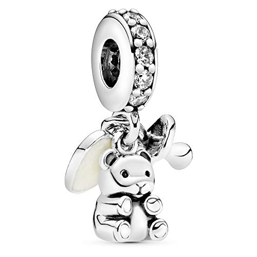Pandora Moments Baby-Teddybär Charm-Anhänger Sterling Silber, Cubic Zirkonia, Emaille 792100CZ