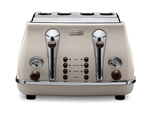 De'Longhi Icona Vintage 4 slot toaster, reheat, defrost, one-side bagel & 6...