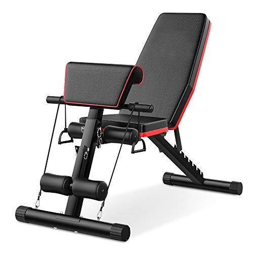 Tribesigns, Panca per bilanciere, pieghevole, con corda, per allenamento dei muscoli della pancia, panca inclinata, per interni, multifunzione, per fitness