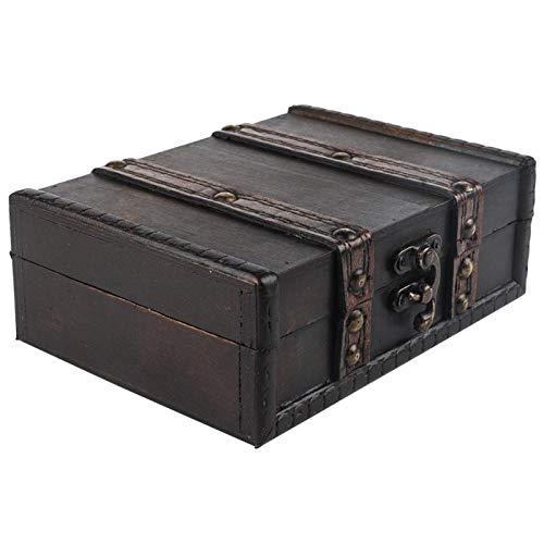 Vintage de madera, caja de almacenamiento de baratijas, organizador de joyas, exquisito, con cerradura, para adornos de escritorio para mujeres, niñas, para Navidad, para(6273-01-do old gray)