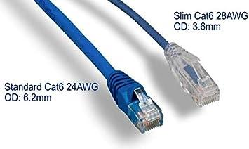 RiteAV Yellow Fluke Tested Cat6 High Density Network Ethernet Cable Ultra Slim 10 Pack 7ft