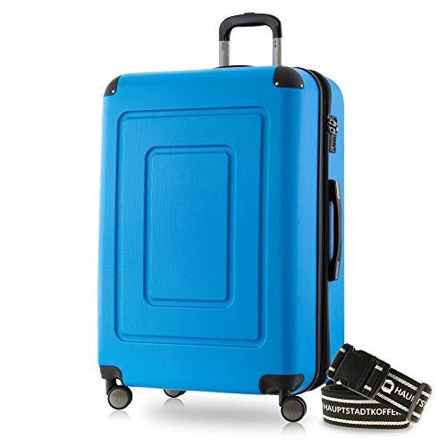 Happy Trolley - Lugano Hartschalen-Koffer Koffer Trolley Rollkoffer Reisekoffer Lugano, sehr leicht + stabil, TSA, 76 cm, 113 Liter, Cyan Blau +Gepäckgurt
