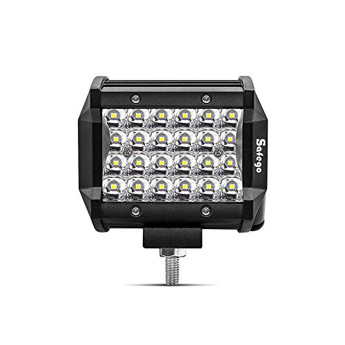 """Safego 4\"""" 72W LED Faro da Lavoro Luce Barra 6000LM Faretto a LED Impermeabile IP67 Fendinebbia Luci per Off Road SUV ATV Camion Barca Mining Spotlight 12V 24V, 1 anno di Garanzia"""