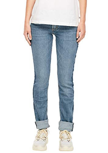 Q/S designed by - s.Oliver Damen Catie Slim: Jeans mit Kontraststreife medium blue 40.30