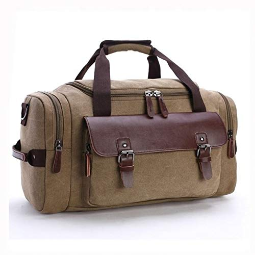 Leather Sport Men Tote Weekender Men's bag Large-capacity Fashion Multi-function Leisure Travel Men's bag fashion (Color : Brown)