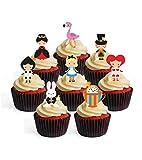 Decoración comestible para cupcakes con diseño de Alicia en el país de las maravillas (12 unidades)