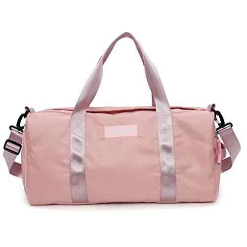 Bolsa de Gimnasio de Viaje al Aire Libre con Bolsa de Zapatos y Zapatillas de Deporte de Nylon Pink Tote Sport para Mujer Pink