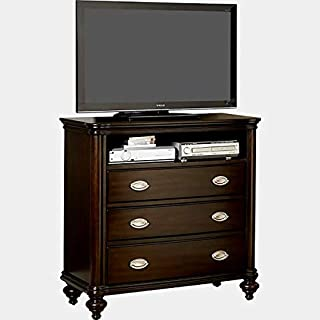 Wood Media Chest with Metal Glides - Dresser with 3 Drawers and Cable Management - Dark Cherry