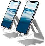 Vetoo Cell Phone Stand, 2 Pack Phone Dock: Cradle, Holder, Stand Compatible with All Android Smartphone, Phone 11 Pro Xs Xs Max Xr X 8 7 6 6s Plus 5 5s Charging, Accessories Desk (Sliver)