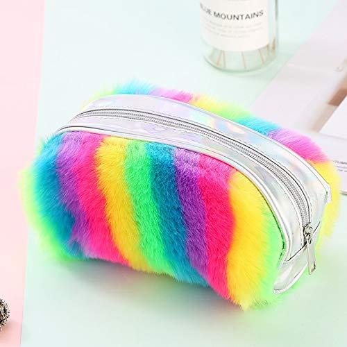Wagrass Estuche escolar de peluche colorido para niñas, estuche de lápices con lentejuelas, gran cartucho de lentejuelas, bolsa de papelería (color colorido)