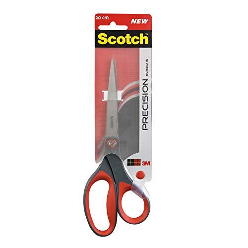Scotch 1448 Präzisionsschere (Asymmetrisch, Komfortgriff, 20 cm) rot/grauer