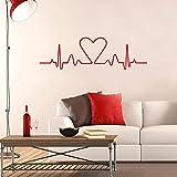 Pegatina de vinilo para pared con corazón eléctrico, calcomanía artística extraíble, Mural para sala de estar, póster, moda familiar, pegatina de fondo simple A3 29x100cm