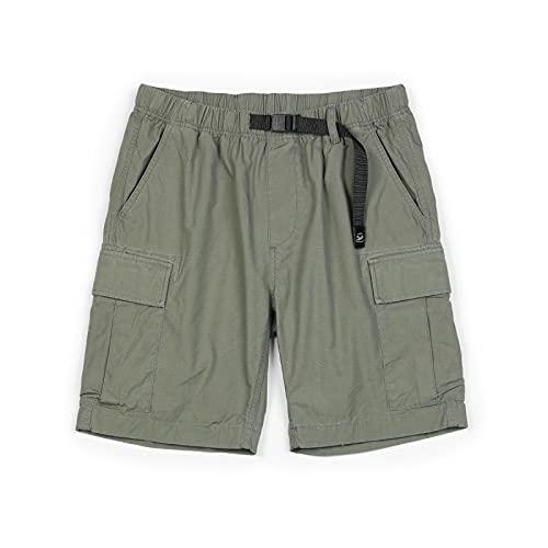 Pantaloncini Uomo Summer New Belt Cargo Shorts Men Loose Multi-Pockets Streetwear Fashion Shorts 100% Cotton Casual Trousers XXXL ArmyGreen