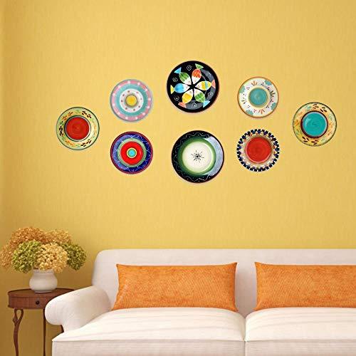 JKFJY FOLD Keramik Hängeteller personalisiert bemalt Teller Keramik Hängeteller Deko Teller Wanddeko Ornament Nordamerikanisches Wohnzimmer Esszimmer kreativ, bunt
