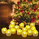 Velas LED Kasimir Luces de Té sin Llama Velas CR2032 pilas velas sin llama para San Valentín, Cumpleaños, Fiestas, Navidad, Festivales, Bodas Decoración, Amarillo Claro 15 unidades LED Velas