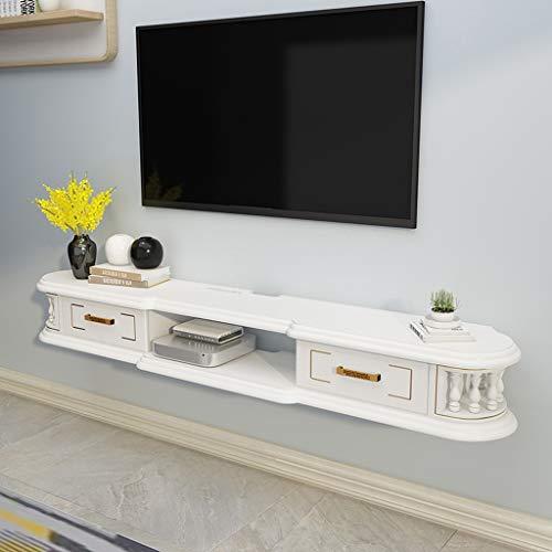 Wand-TV Schrank Hängender Wandschrank Wandregal Schwimmendes Regal Aufbewahrungsregal für TV-Multimedia-Zubehör TV-Konsole Mit Schublade Massivholz (Color : White, Size : 1.2m)