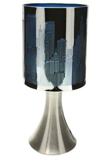 Générique Lampe New York Tactile sans Interrupteur - 3 intensités Lumineuses - Bleu