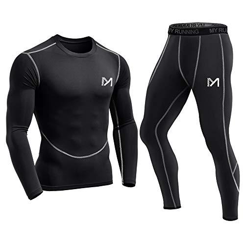 MEETYOO Kompressionsshirt Herren, Sportbekleidung Kompressionshose Lang Trainingsanzug Atmungsaktiv Sportwear Fitness für Laufen Radfahren Yoga