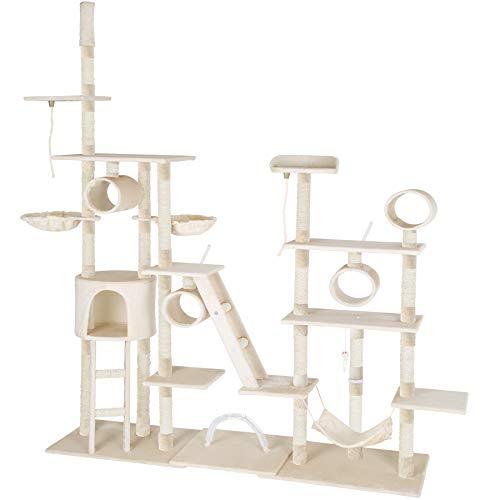 TecTake Katzen Kratzbaum Katzenbaum XXL | 2 Spielseile | 4 Röhren | 2 Treppen | 2 Liegemulden | Deckenhoch (Beige | Nr. 402740)