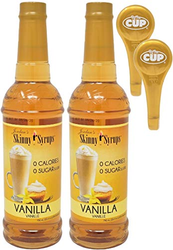 Jordan's Skinny Mixes Sugar Free Vanilla Syrup 750 ml Bottles (Pack of 2) with 2 By The Cup Syrup Pumps