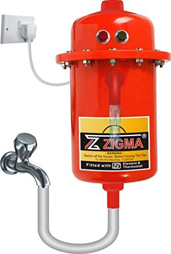 ZIGMA Sun Instant Water Geyser, Water Heater, Portable Water Heater, Geysers Made of First Class ABS Plastic, Automatic Reset Model, Red Color (Red) AE10-3 KW Model