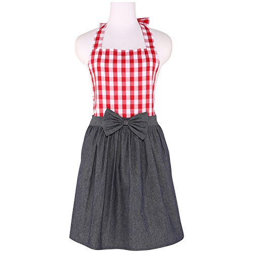 NEOVIVA Delantal de cocina vintage para mujer con bolsillos, delantal de camarera coqueto para tiendas, delantal de mezclilla para niñas estilo Tiffany, rojo a cuadros