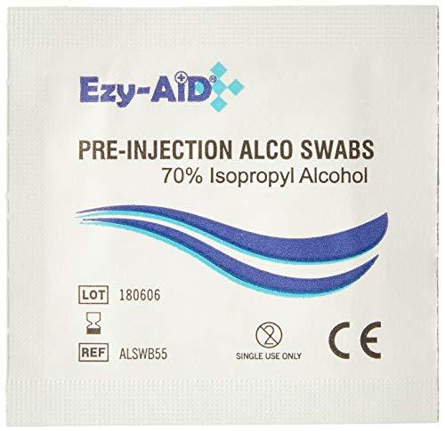 100 pre-inyección Piel Toallitas Limpiadoras Hisopos 70% isopropílico ALCOHOL