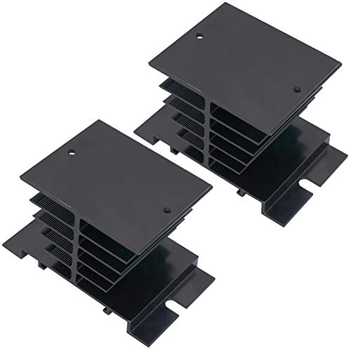 Twidec/2Pcs Single-phase Solid State Relay Aluminum Heat Sink Temperature Controller Heat Sink Module Black For SSR-10A,25A,40A
