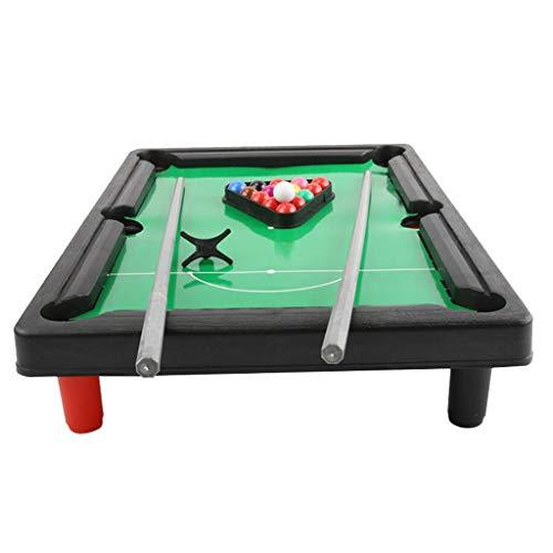 HomeDecTime Mini Tischbillard, Kinder Billardtisch, Billiard Spieltisch mit 2 Queues, Kugeln, Dreieck, 33 x 24 x 6,5 cm