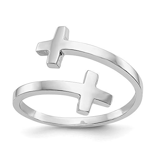 14k White Gold Double Cross Religious Band Ring Size 7.00 Fine Jewelry For Women Mothers Day Gifts For Her