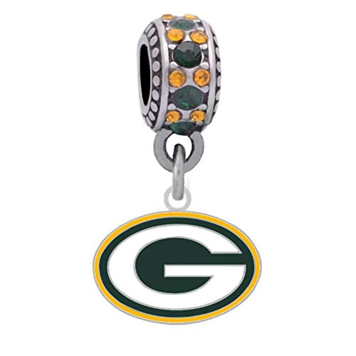 Green Bay Logo Charm Compatible With Pandora Style Bracelets. Can also be worn as a necklace (Included.)