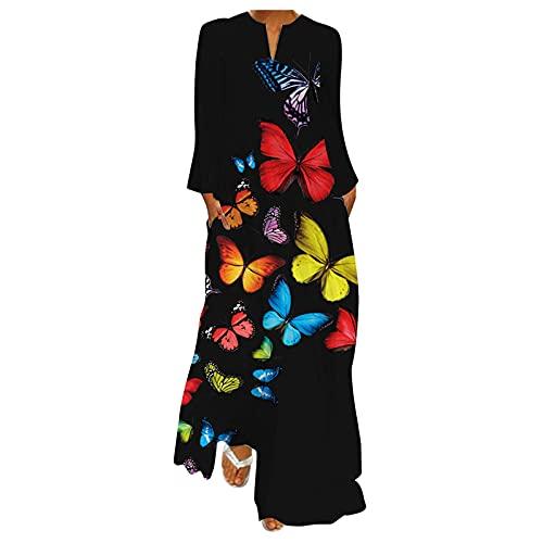 Xmiral Abito Donna Eleganti Lungo Boho Moda Stampato Taglie Forti Casual Vestito Estive Senza Maniche Scollo a V Vintage Abiti da Spiaggia Chic Casual ( XL,8nero )