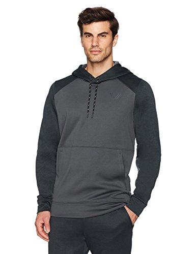 Peak Velocity Men's Quantum Fleece Pull-Over Loose-Fit Hoodie, dark grey heather/asphalt, Large
