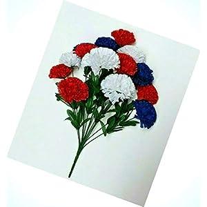 Artificial Red White Blue Carnations 20″ Bush Patriotic Silk Flower Indoor Outdoor Decor Us Flowers Bouquet Realistic Flower Arrangements Craft Art Decor Plant for Party Home Wedding Decoration