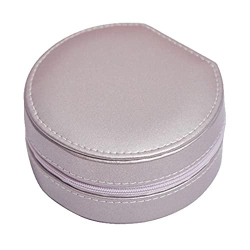 Fiacvrs Caja de joyería de cuero PU pendientes de viaje anillo collar organizador de joyas para mujeres Joyerías caso Exhibición para almacenamiento cosmético anillo para mujeres (rosa claro)