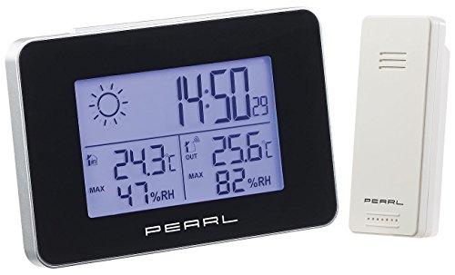 PEARL Uhr mit Wetterstation: Wetterstation mit Funkwecker, Thermo-/Hygrometer und Funk-Außensensor (Regenmesser)